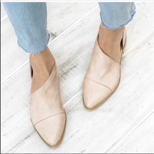 Shoes - ALMOST GONE! Vegan Leather Sand Shank Cut Out Flat